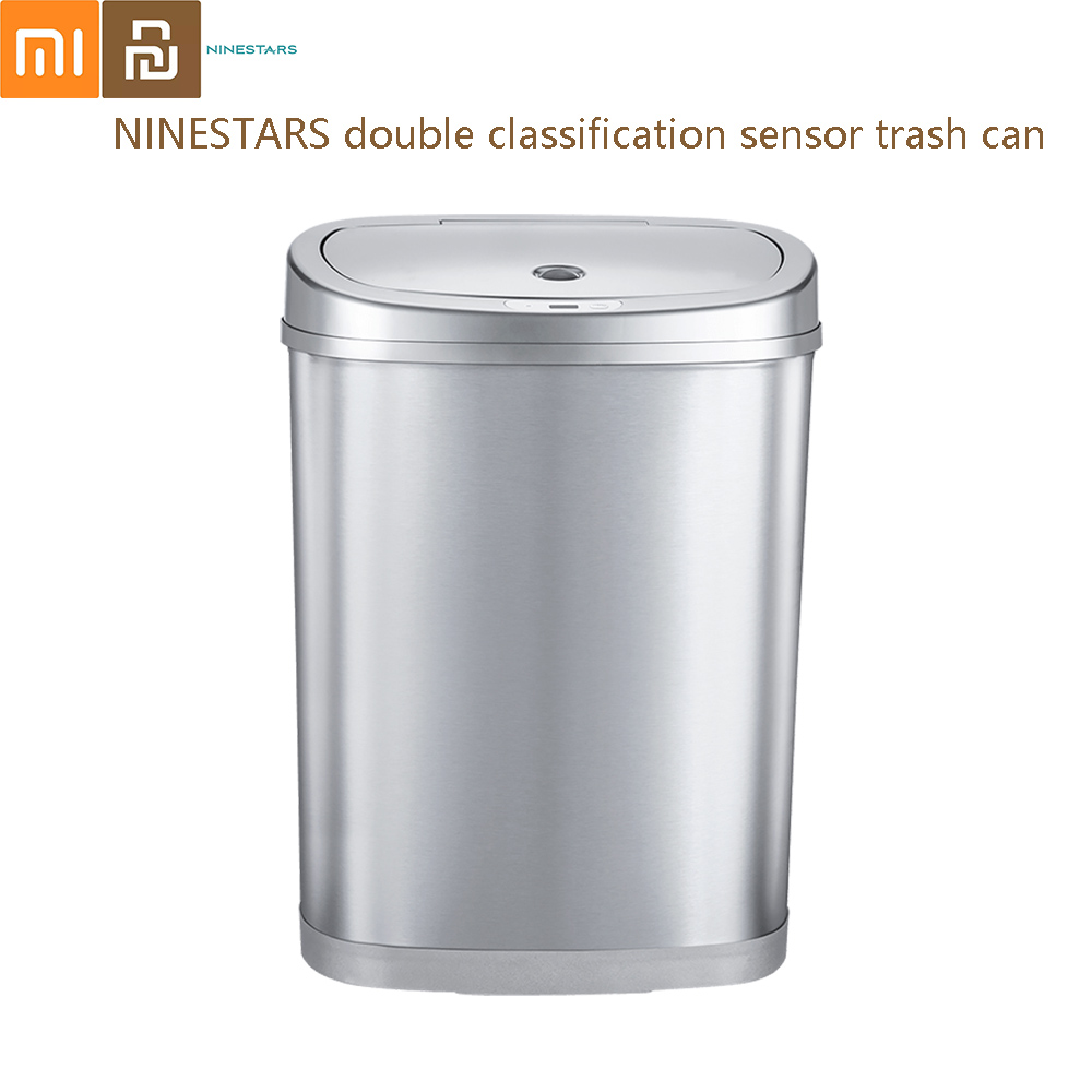 NINESTARS double classification sensor trash can Smart Stainless Steel Can Auto Sealing Cover Garbage Classification Bins 30/42L|Waste Bins| |  - title=