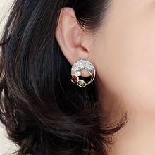 Or/noir 2 tons boucles doreilles trou design Vintage bijoux vert rouge cristal bijoux dernière 2020 boucle doreille pour les femmes