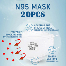 20pcs N95 Mouth Face Masks Anti-fog Dust Mouth Unisex Reusable Non-woven Mask Flu Anti Infection Mask
