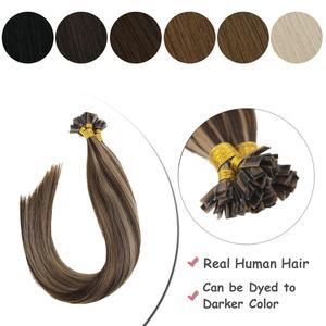 Image 1 - VeSunny Pre Bonded keratyna płaska końcówka przedłużanie włosów 100% prawdziwe ludzkie włosy Fusion Hair 50gr na zestaw 14 24 cali