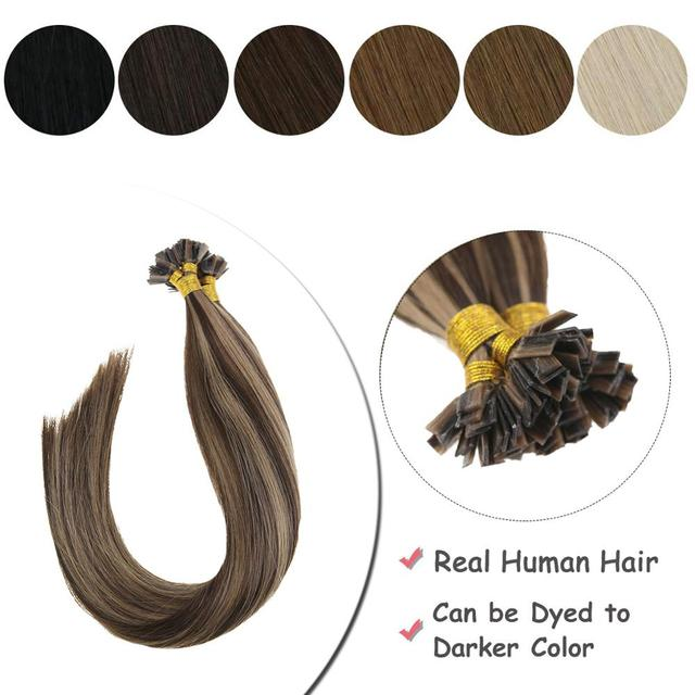 VeSunny Pre Bonded keratyna płaska końcówka przedłużanie włosów 100% prawdziwe ludzkie włosy Fusion Hair 50gr na zestaw 14 24 cali