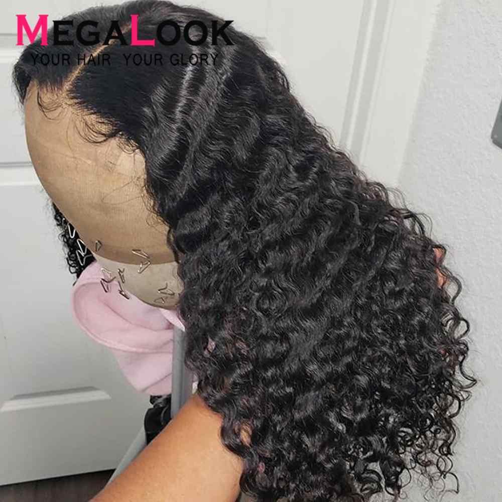 Megalook onda profunda peruca 360 peruca frontal do laço remy perucas de cabelo humano 360 peruca frontal do laço pré arrancado com o cabelo do bebê peruano peruca