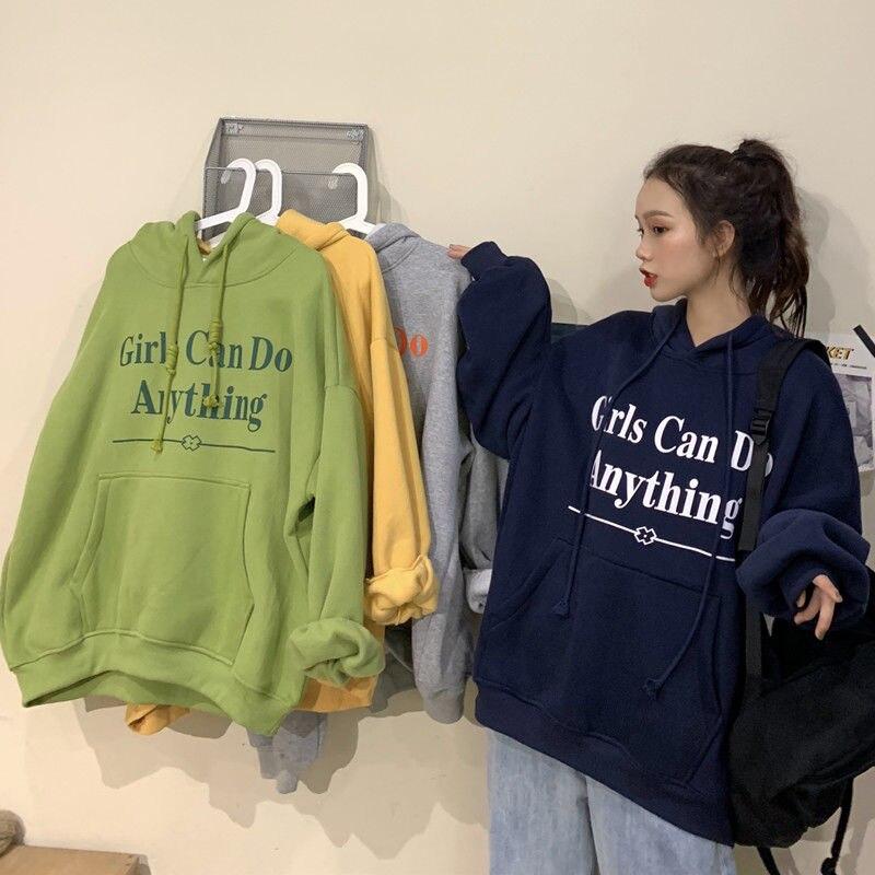 Autumn winter harajuku hoodies Korean style loose new plus velvet thickening long-sleeved streetwear sweatshirt women jacket 1
