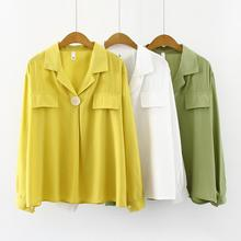 French Style Fashion Blouse  New Women's Long Sleeves Korean Version Loose Tops Solid Color Suit Collar Female  Shirt korean style polo collar solid color button embellished long sleeves cotton blend sweater for men