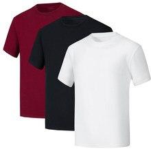 Verão novo t camisa de manga Curta de alta qualidade da marca 100% algodão homens T-shirt sólidos O pescoço T-shirt para homens cobre t 3 pçs/lote
