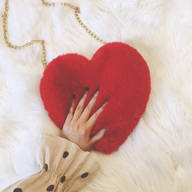 Winter Faux Fur Heart Bag For Women 2019 Lady Handbag Shoulder Bag Kawaii Girls Big Love Messenger Crossbody Bag Bolso