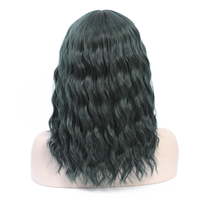 COSYCODE 14 дюймов зеленый парик с челкой короткий волнистый парик естественная волна женский Парик Синтетический Хэллоуин вечерние парик
