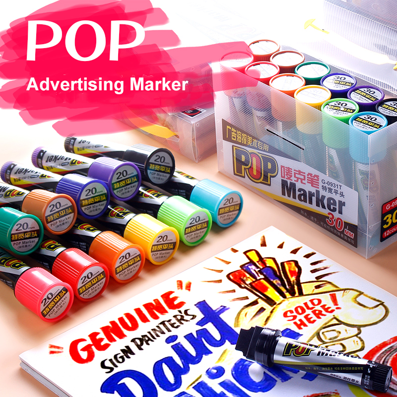 LifeMaster Genvana Pop Marker 30mm Flat Tip Pen For Poster Advertising Promotion Pen School & Office Supplies Permanent Marker