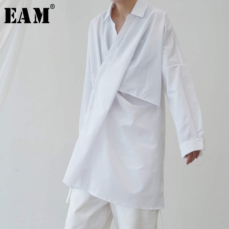 [EAM] femmes noir blanc surdimensionné asymétrique Blouse nouveau revers manches longues coupe ample chemise mode marée printemps automne 2019 1B663