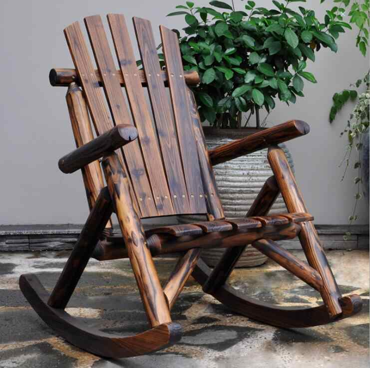 Outdoor Furniture Wooden Rocking Chair Rustic American Country Style  Antique Vintage Adult Large Garden Rocker Armchair Rocker