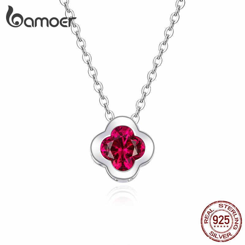 Bamoer GAN152 prawdziwe 925 srebro naszyjnik czerwony koniczyna naszyjnik łańcuch szczęście liść prezent dla kobiet Trendy biżuterii