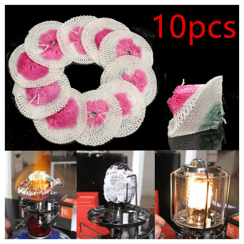 10pcs 50mm/100mm Camping Gas Lantern Mantles Cover Durable Gauze Mesh Light Safe Outdoor Tools Spare Parts Lampshade