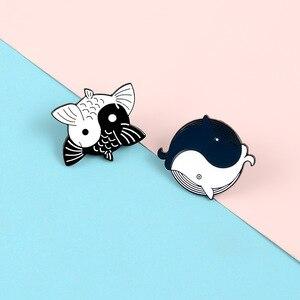 Новый мультфильм тай-чи Карп КИТ Металл Эмаль Булавка коллекция кунг-фу вращающаяся рубашка рюкзак ювелирные изделия брошь подарок