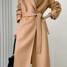 Wool Coat Fabric Autumn Winter Women's New-Fashion And Long Thickened Water-Ripple