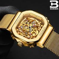 Suíça binger relógio masculino relógios mecânicos automáticos papel marca de luxo esqueleto tourbillon pulso safira à prova dwaterproof água