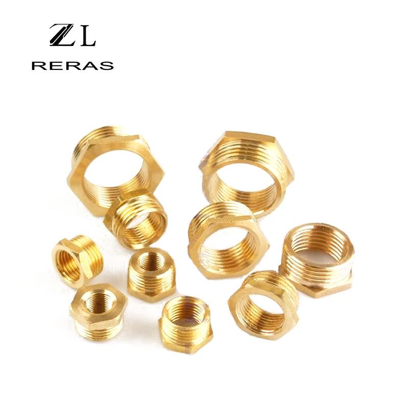 Brass Adapter Fitting <font><b>BSP</b></font> Reducing Hexagon Bush Bushing Male to Female Connector Fuel Water Gas Oil 1/8