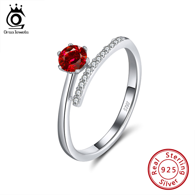 ORSA JEWELS S925 Adjustable Open Rings Elegant Red Color Cubic Zircon Rings Wedding Engagement Anniversary Fine Jewelry SR203