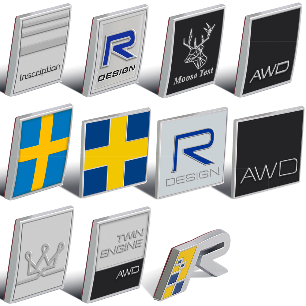 For VOLVO V40 V50 V60 V70 V90 XC40 XC60 S40 S60 S70 S80 S90 Trunk AWD Moose Test Inscription R Flag Logo Sticker 3D Car Tuning