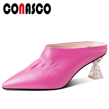 CONASCO Summer New Casual Fashion Women Genuine Leather Sandals Slippers Pumps Mules Pleated Pointed Toe High Heels Shoes Woman