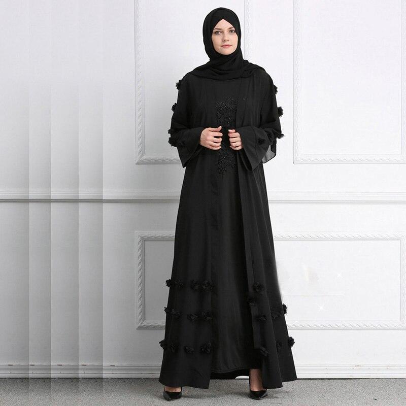 Image 3 - Flower Islamic Muslim Dress With Belt Women Dubai Abaya Black  Robe Long Sleeve Elegant Design Maxi Dresses Clothes Female  LadiesIslamic Clothing
