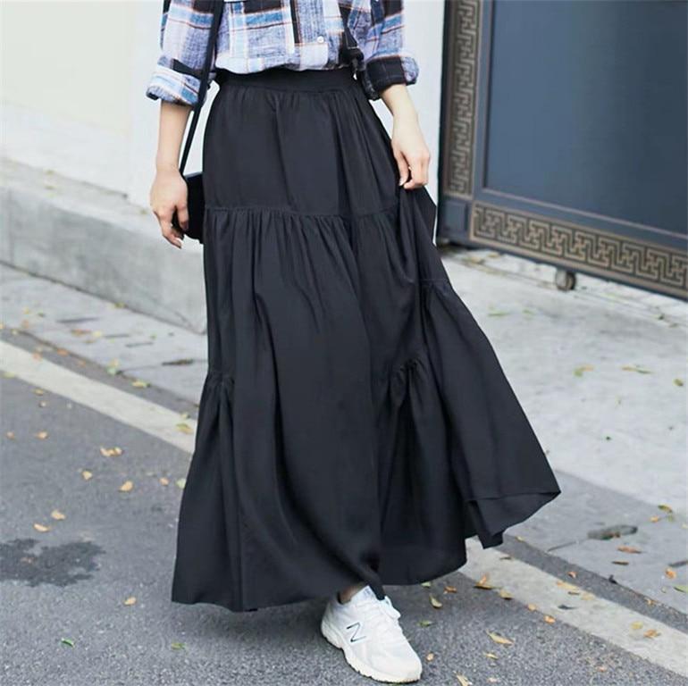 2020 Spring Autumn Women High Waist Pleated Cotton Linen Skirts,M- 6XL 7XL Plus Size Korea Casual Maxi Skirts Long Party Skirt