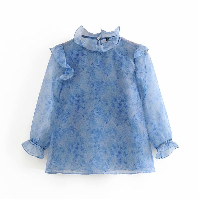 2020 New Women Stand Collar Translucent Casual Smock Blouse Female Ruffles Decoration Organza Shirts Leisure Chemise Tops LS6545