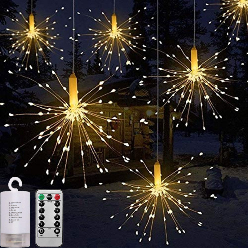 120-200 Leds Festival Hanging Starburst String Lights Christmas DIY Firework Copper Fairy Garland Navidad Outdoor Patio Lights