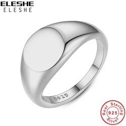 ELESHE 2020 nouveau 18K plaqué or chevalière anneaux pour les femmes 925 en argent Sterling Simple pièce Fine anneaux de mariage bijoux de fiançailles