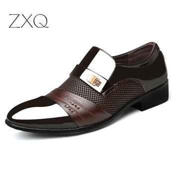 Summer Men Dress Shoes Plus Size Formal Flat Black Brown Breathable Slip On Business Office