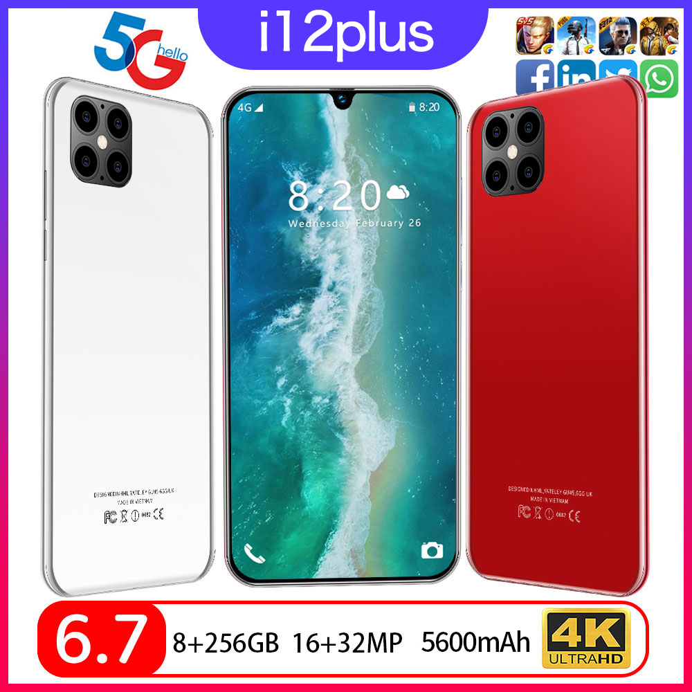Global 6.7 inches i12 Plus Water drop screen smartphone Android 10 Snapdragon 855 10 Core 8GB RAM 256GB ROM 5600mAh 5G dual SIM(China)