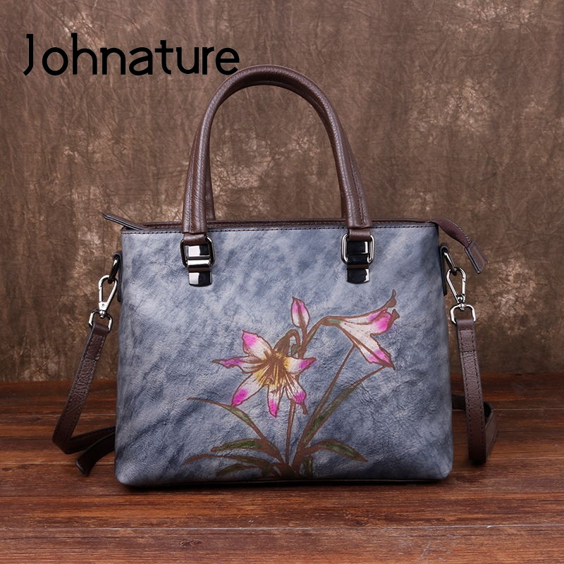 Johnature Retro Woman's Handbag 2020 New Hand Painted Genuine Leather Women Shoulder Bags Leisure Floral Cowhide Messenger Bag