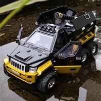 Jeeps-coche blindado de aleación modificado para niños, juguete de Metal fundido a presión, vehículos todoterreno, modelo de coche a prueba de explosiones, tanque, juguete para regalo, 1:24