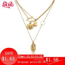 IngeSight.Z Boho Multi Layer Chain Pendant Choker Necklace Portrait Coin Virgin Mary Face Fashion Women Statement Jewelry Female(China)
