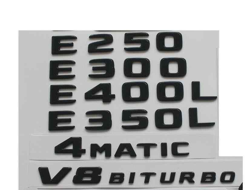 Parlak siyah amblemler Mercedes E200 E220 E250 E300 E320 E350 E400 4MATIC