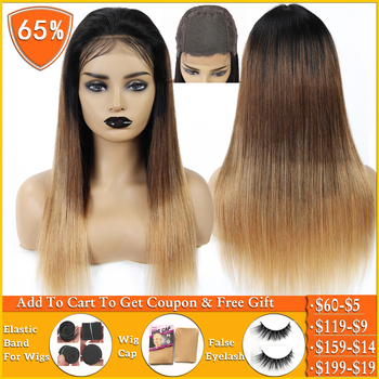 T1B/4/27 honey blonde ombre human hair wig Brazilian straight lace closure wig Human Hair Wigs for women non-remy 150% Density