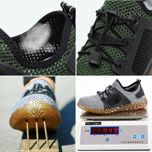 Image 5 - Safety Shoes Breathable Mesh Steel Toe Cap Labor Shoes Summer Lightweight Work Anti smashing Stab resistant Protective Footwear