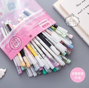 Image 4 - 50 шт./пакет Kawaii гелевые ручки с 10 шт бесплатными стержнями нейтральная ручка чернила 0,38 мм 0,5 мм канцелярские принадлежности для офиса школы школьные принадлежности