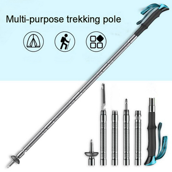 цена на 2020 new multifunctional EDC tool. Trekking poles folding telescopic outdoor hiking tactical self-defense cane crutches