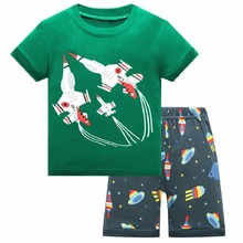 Fashion summer Baby boys 2-78year clothing Sets childrens clothes pajama suits sleepwears Kids cotton shirts+shorts