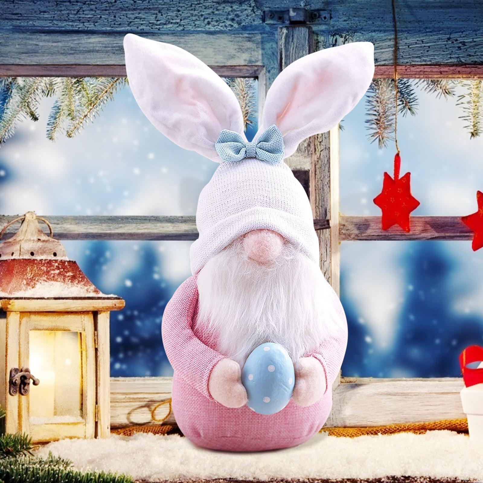 Милый кролик, Пасхальный кролик, гном, украшения на Пасхальный день, для спальни, гостиной, настольное украшение, стоячий столб, игрушки для ...