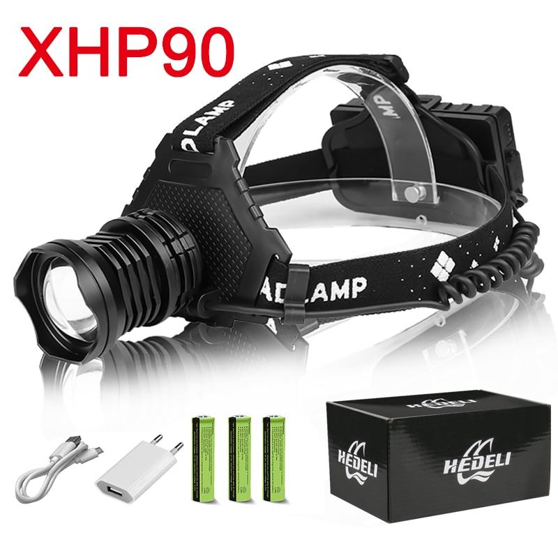 Most Powerful Led Headlamp Xhp90 Headlight 18650 Rechargeable Head Lamp IPX-6 Waterproof Zoom Usb Head Light Can As Power Bank