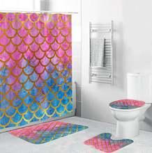 Цифровая печать рыбьих чешуек занавеска для ванной комнаты 4