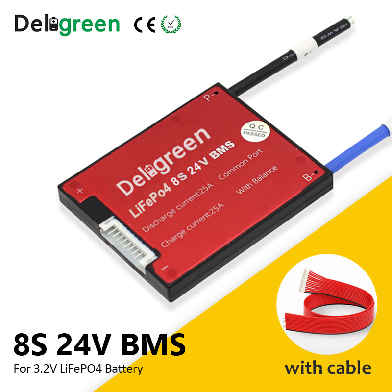 Deligreen 8S 24V 15A 20A 30A 40A 50A 60A BMS For Lithium LiNCM LiFePO4 Battery Pack