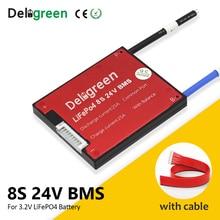 Deligreen LiFePO4 paquete de baterías de litio, 8S, 24V, 20A, 30A, 40A, 50A, 60A, BMS