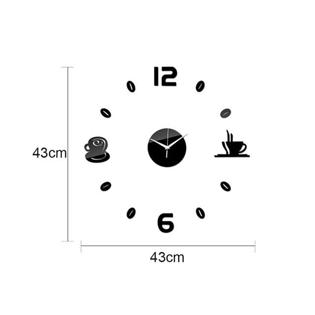 Купить креативные зеркальные настенные часы для кофе самоклеящиеся картинки цена