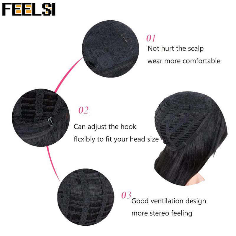 FEELSI Long Mix negro marrón naranja mujeres pelucas agua onda resistente al calor pelucas sintéticas para mujeres afro-americanas