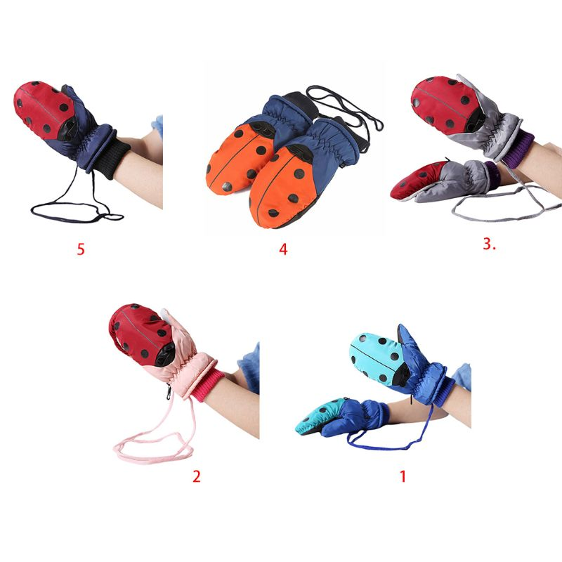 Toddler Kids Cute Ladybird Dot Print Winter Gloves With String Thicken Plush Lined Contrast Color Snow Ski Outdoor Warm Mittens