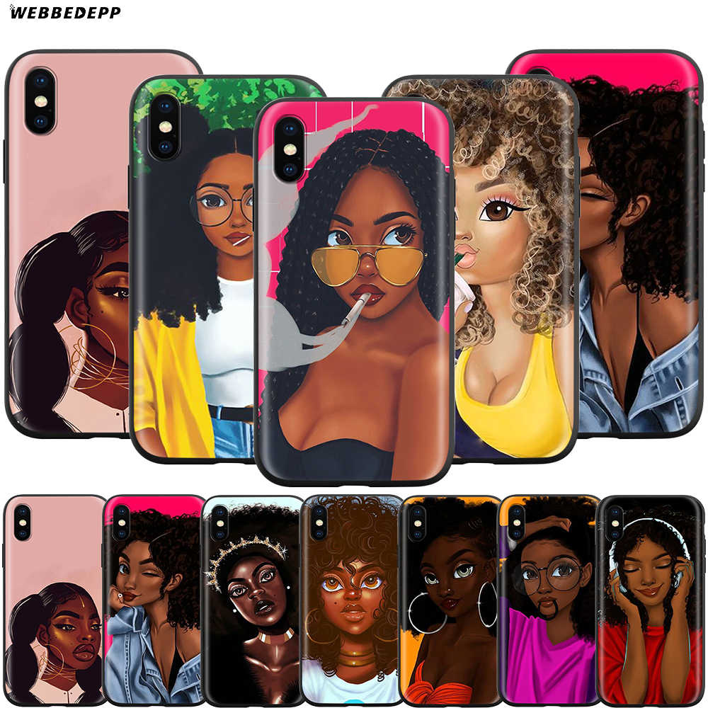 Webbedepp Africana Belleza Poppin Case for Apple iPhone 11 Pro XS Max XR X 8 7 6 6S Plus 5 5S SE