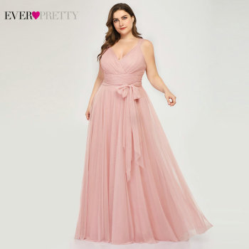 Plus Size Bridesmaid Dresses Ever Pretty EP07303 Blush Pink A-Line V-Neck Tulle Elegant Lavande Long Dress For Wedding Party