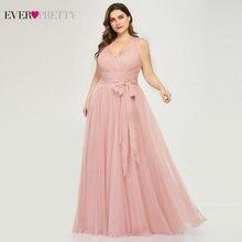 Plus rozmiar sukienki druhen Ever Pretty EP07303 Blush Pink line dekolt w serek tiul elegancki Lavande długa sukienka na wesele